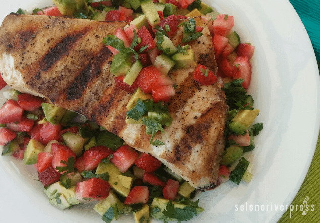 Grilled Swordfish with Strawberry-Avocado Salsa