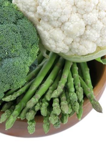 Asparagus, broccoli and cauliflower